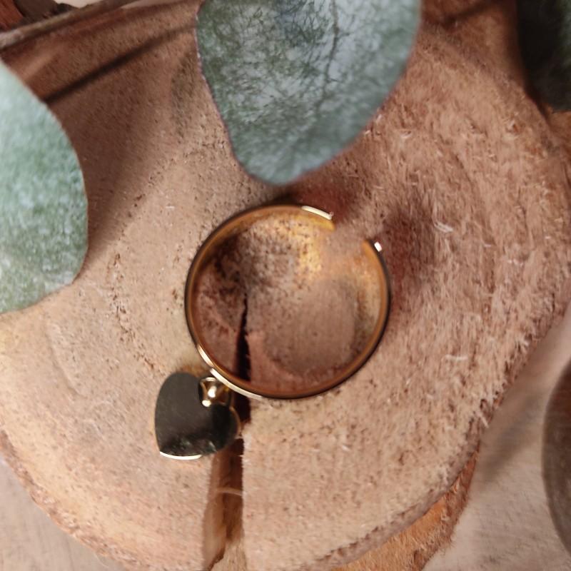 Bague fine pendentif cœur, en acier inoxydable, taille unique