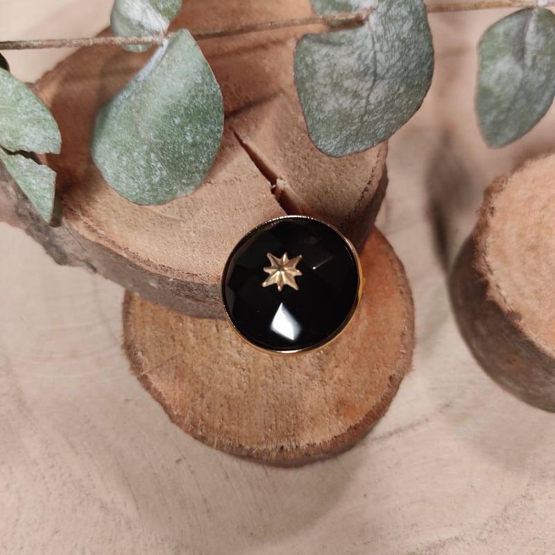Bague ronde étoile noire, en acier inoxydable, taille unique