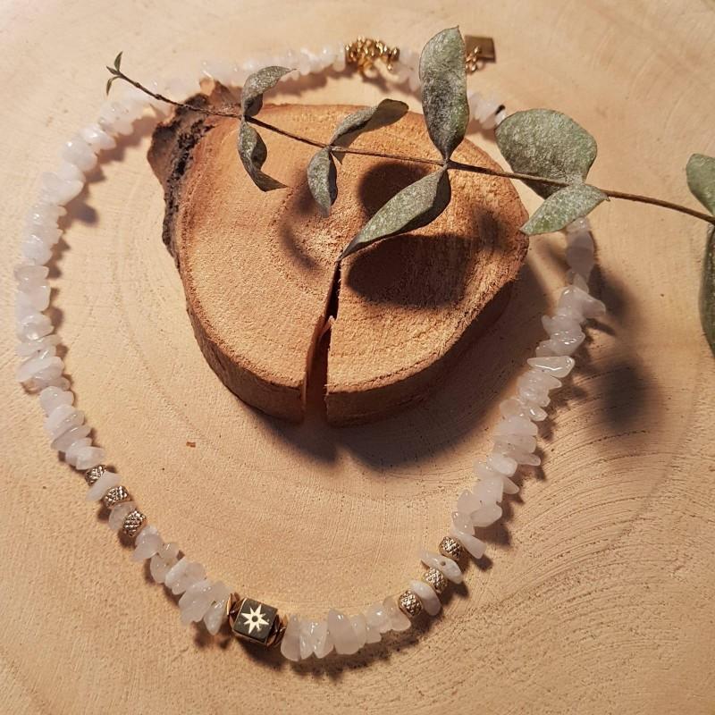 Collier blanc en pierre naturelle blanche, Agathe, en acier inoxydable