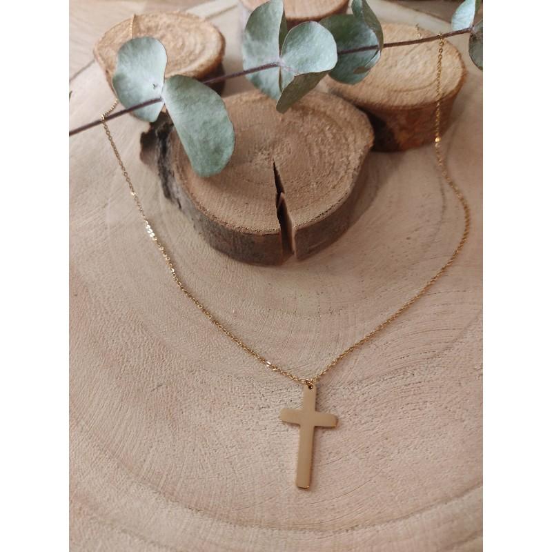 Sautoir doré pendentif croix, Leyabijoux.com