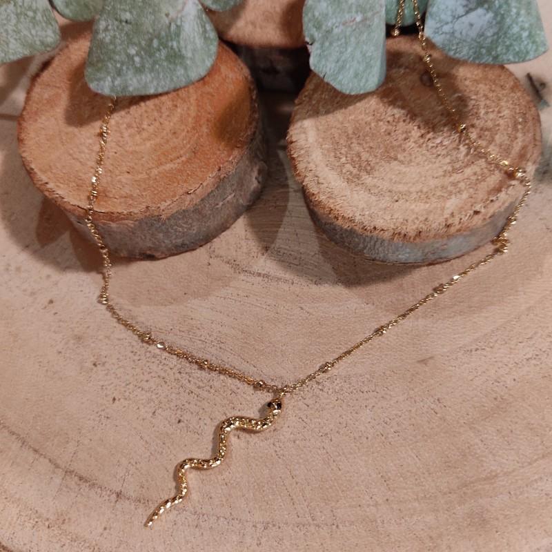 Collier pendentif serpent doré en acier inoxydable