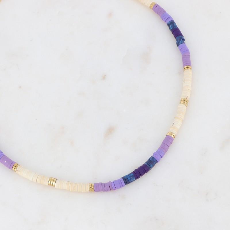 Collier Heishi violet et blanc avec serpent, Leyabijoux.com