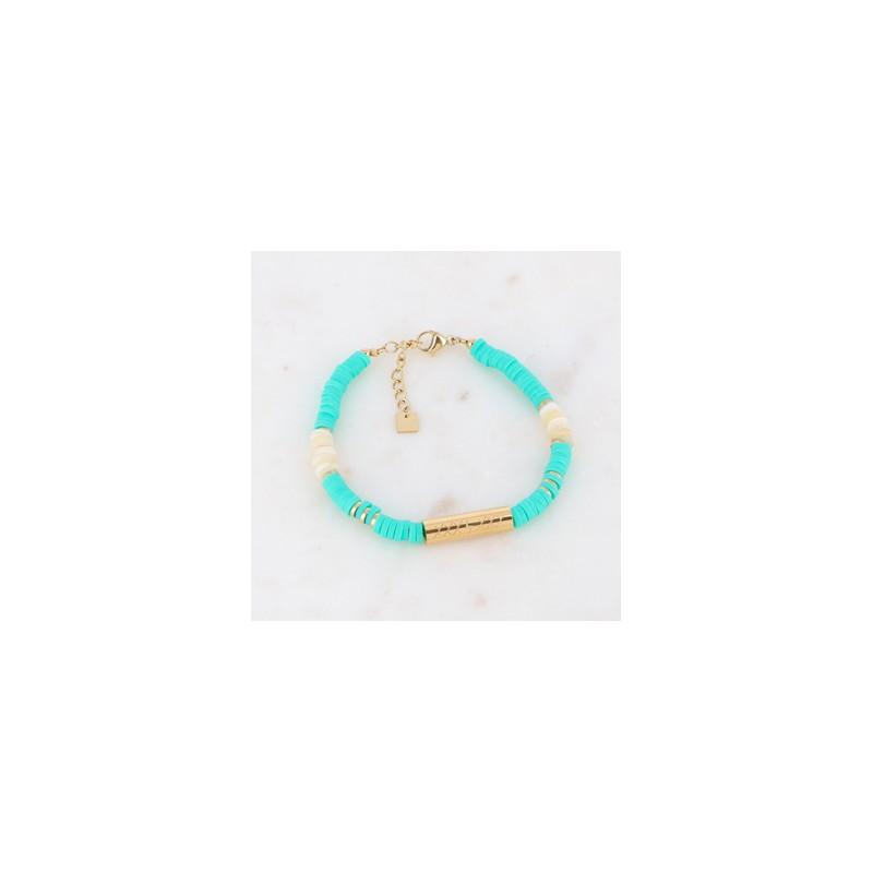 Bracelet Heishi turquoise cylindre doré DREAM, Leyabijoux.com