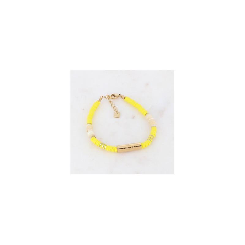 Bracelet jaune Heishi