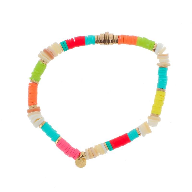 Bracelet perles Heishi multicolores, Leyabijoux.com