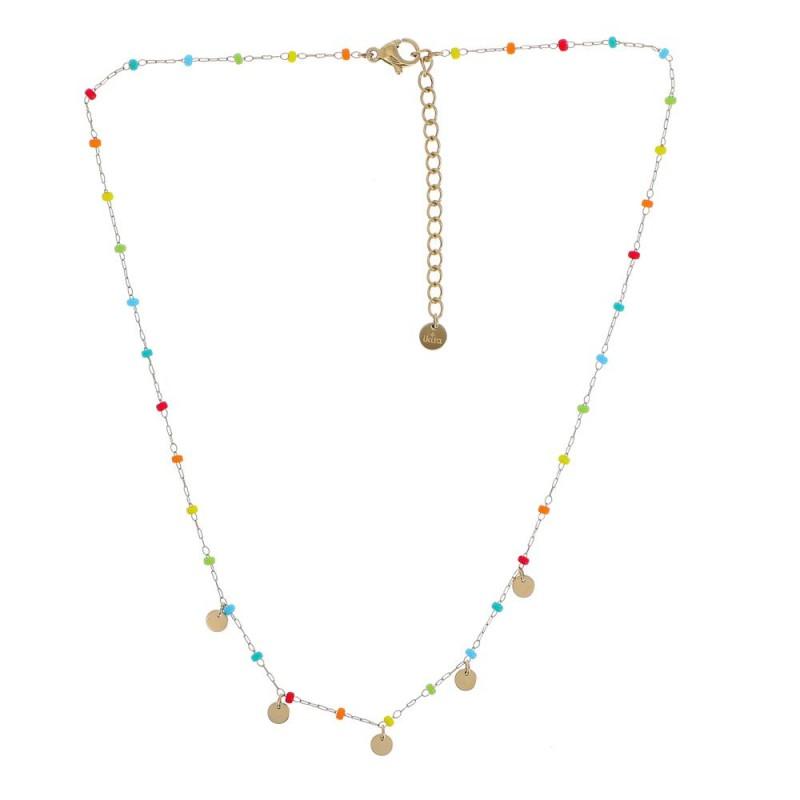 Collier perles et pampilles multicolores, Leyabijoux.com