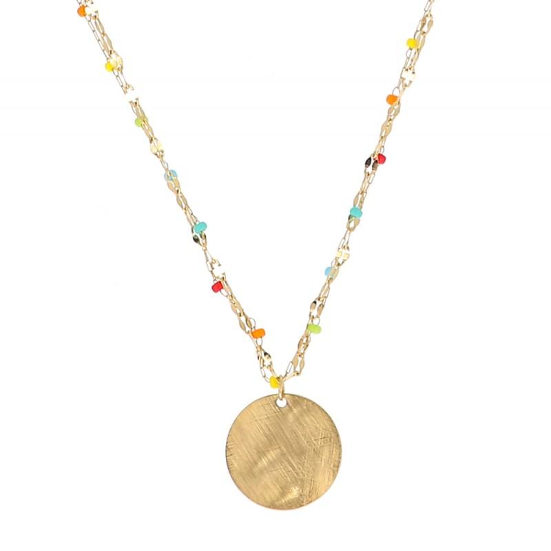 Collier multicolore et médaillon