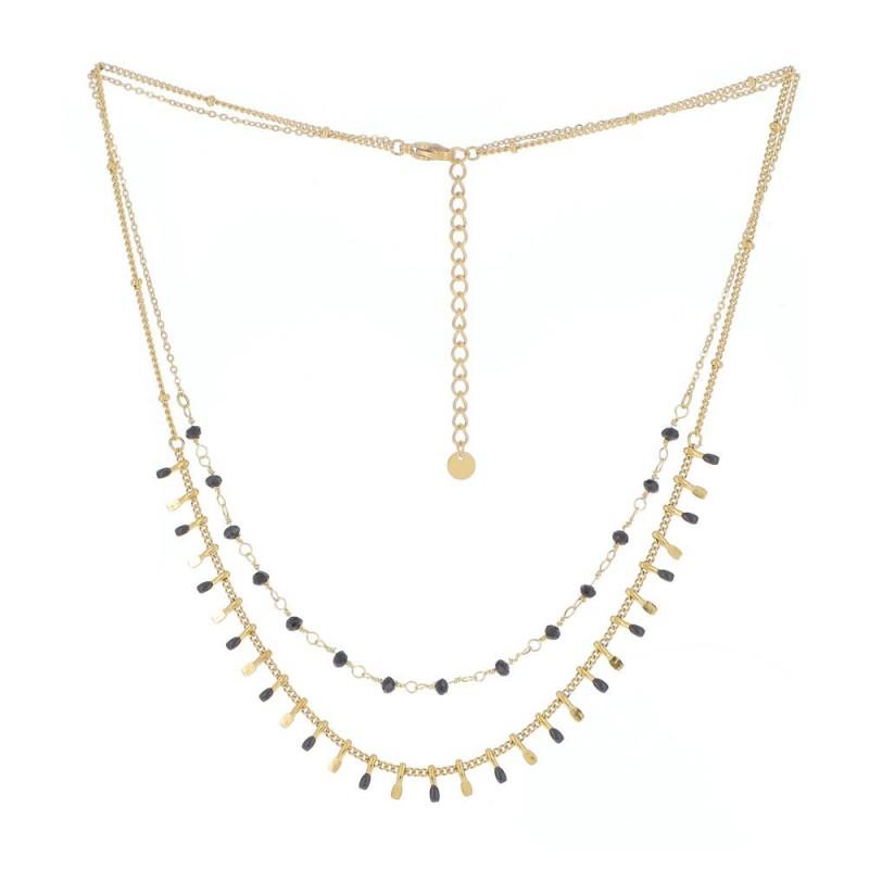 Collier multi-rangs et perles noires, Leyabijoux.com