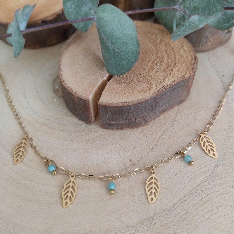 Chaîne de cheville pampilles rectangles et pierres bleues, Leyabijoux.com