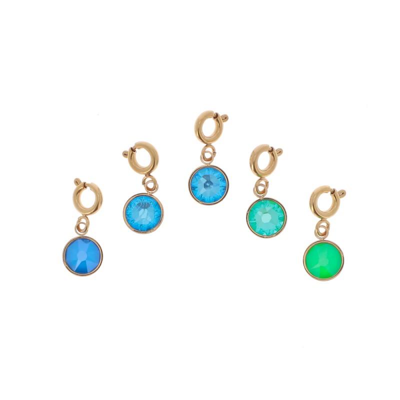 4 Charms cristaux bleus et verts, Leyabijoux.com