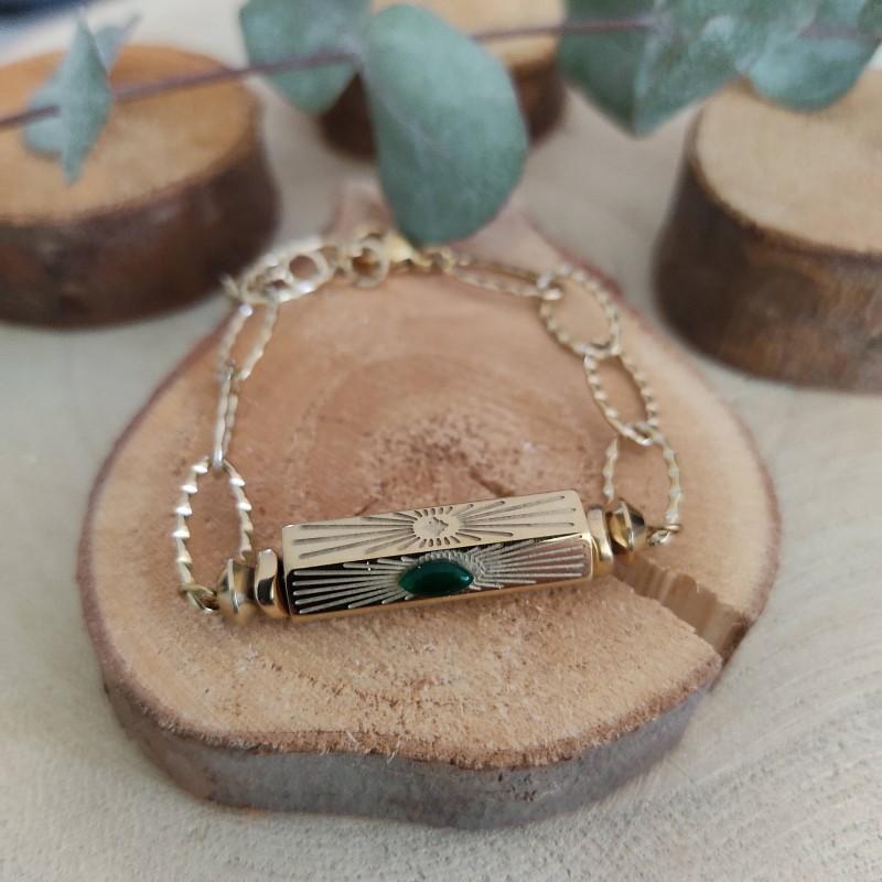 Bracelet cylindre doré vert, Leyabijoux.com