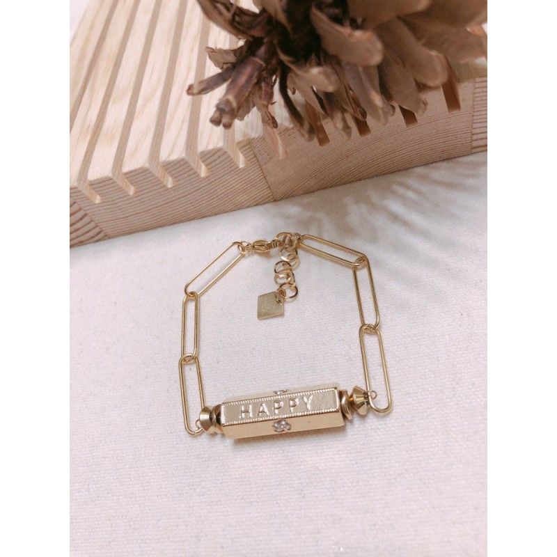 "Bracelet cylindre doré ""Happy - Lucky - Wish"", Leyabijoux.com"