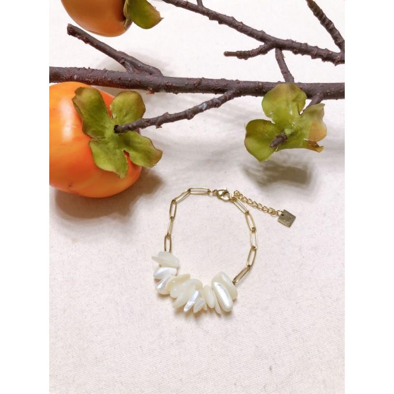 Bracelet pierre agate blanc nacré, Leyabijoux.com
