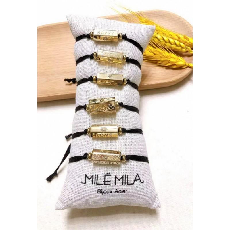 """Bracelet cordon noir cylindre doré """"LIVE - DREAM"""", Leyabijoux.com"""