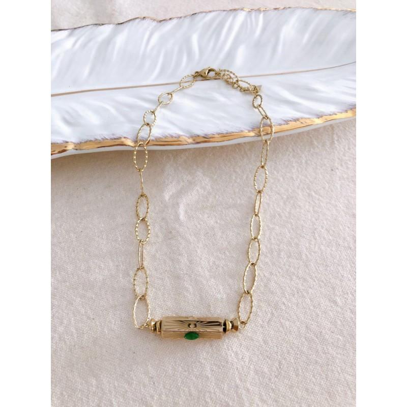 Collier cylindre doré à perle verte en acier inoxydable, ras du cou