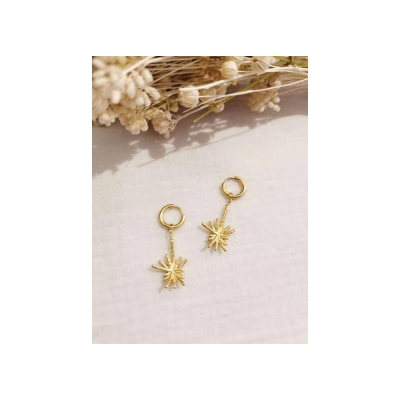 Boucles d'oreilles dorées constellation éclatante, Leyabijoux.com