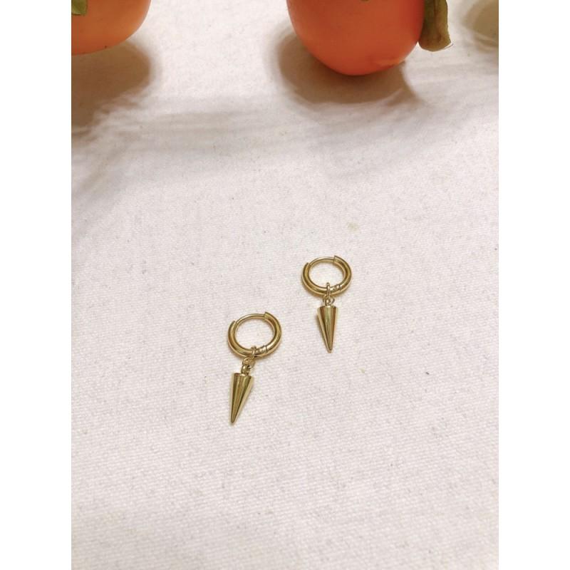Boucles d'oreilles dorées forme cône, Leyabijoux.com